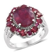 Niassa Ruby Platinum Over Sterling Silver Flower Ring (Size 10.0) TGW 8.55 cts.