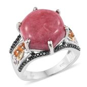 Norwegian Thulite, Jalisco Fire Opal, Thai Black Spinel Black Rhodium, 14K YG and Platinum Over Sterling Silver Bridge Ring (Size 7.0) TGW 15.35 cts.