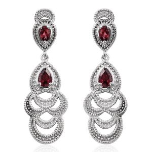 KARIS Collection - Orissa Rhodolite Garnet Platinum Bond Brass Chandelier Earrings TGW 1.57 cts.