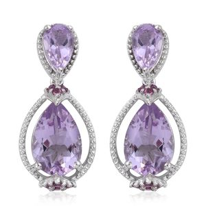 Rose De France Amethyst, Orissa Rhodolite Garnet Platinum Over Sterling Silver Drop Earrings TGW 7.18 cts.