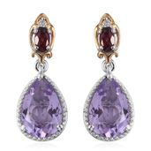 Rose De France Amethyst, Orissa Rhodolite Garnet, Cambodian Zircon 14K YG and Platinum Over Sterling Silver Drop Earrings TGW 6.16 cts.