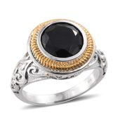 Thai Black Spinel ION Plated YG and Stainless Steel Ring (Size 5.0) TGW 4.95 cts.