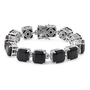 Asscher Cut Thai Black Spinel Platinum Over Sterling Silver Bracelet (7.50 In) TGW 128.85 cts.