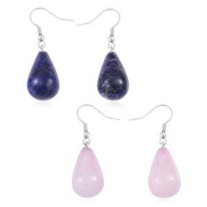 Galilea Rose Quartz, Lapis Lazuli Stainless Steel Set of 2 Drop Earrings TGW 71.50 cts.