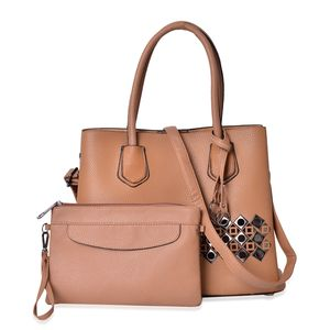 Camel Faux Leather Laser Cut Tote on Standing Studs (13x5.5x10.5 in) with Matching Wristlet or Crossbody Bag (9x6 in)