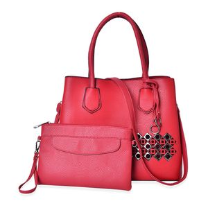 Red Faux Leather Laser Cut Tote on Standing Studs (13x5.5x10.5 in) with Matching Wristlet or Crossbody Bag (9x6 in)