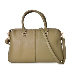 Olive Faux Leather Handbag with Standing Studs (14x5.5x9 in)