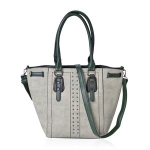 Green Faux Leather Studded Tote Bag with Standing Studs and Removable Strap (16x7x11 in)
