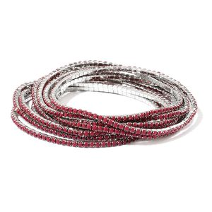 Dark Red Resin Crystal Silvertone Set of 10 Bracelet (Stretchable) TGW 60.00 cts.
