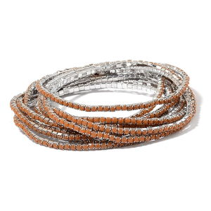 Brown Resin Crystal Silvertone Set of 10 Bracelet (Stretchable) TGW 60.00 cts.