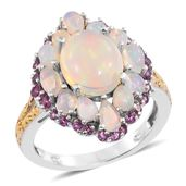 Ethiopian Welo Opal, Purple Garnet 14K YG and Platinum Over Sterling Silver Ring (Size 7.0) TGW 4.26 cts.