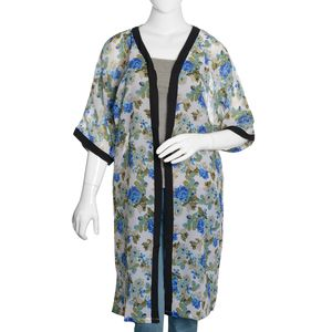 White 100% Polyester Chiffon Duster Kimono with Blue and Green Floral Pattern (One Size)