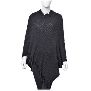 Black 100% Acrylic Wavy Knitted V-Shape Poncho With Fringes (One Size)