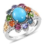 Arizona Sleeping Beauty Turquoise, Multi Gemstone 14K YG and Platinum Over Sterling Silver Ring (Size 8.0) TGW 4.32 cts.