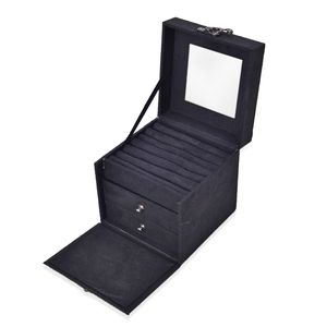 Chocolate Velvet Cube Drawer Jewelry Box with Mirror, Swing Latch and Handle (4.75x4.75 in)