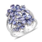 Tanzanite Platinum Over Sterling Silver Openwork Floral Split Ring (Size 6.0) TGW 4.54 cts.