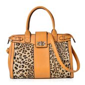 Mustard with Leopard Pattern Faux Leather Satchel Bag (13.5x5.4x10 in)