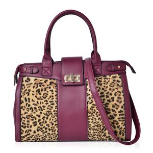 Burgundy with Leopard Pattern Faux Leather Satchel Bag with Removable Strap and Standing Studs (15x5x14 in)