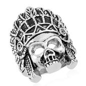 Halloween Black Oxidized Stainless Steel Skull with Native Head Wear Ring (Size 10.0)