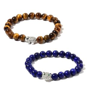 South African Tigers Eye, Lapis Lazuli, Simulated White and Green Diamond Silvertone Set of 2 Bracelet (Stretchable) TGW 178.60 cts.
