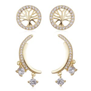 Simulated Diamond 14K YG Over Sterling Silver Set of Stud and Half Moon Dangle Earrings TGW 1.46 cts.