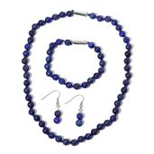 Lapis Lazuli Beads Stainless Steel Station Magnetic Clasp Bracelet (7.50 in) and Necklace (18.00 In) with Dangle Earrings TGW 258.50 cts.