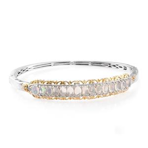Ethiopian Welo Opal, Cambodian Zircon 14K YG and Platinum Over Sterling Silver Bangle (8 in) TGW 5.84 cts.