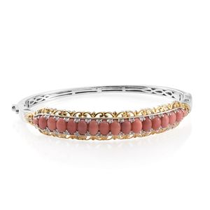 TLV Oregon Peach Opal, Cambodian Zircon 14K YG and Platinum Over Sterling Silver Bangle (7.25 in) TGW 5.67 cts.