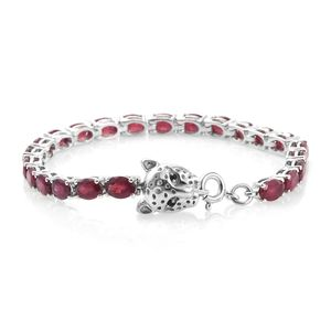 Niassa Ruby, Thai Black Spinel Platinum Over Sterling Silver Tennis Bracelet with Panther Spring Ring Clasp (6.50 In) TGW 14.27 cts.