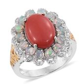 Oregon Peach Opal, Ethiopian Welo Opal, Cambodian Zircon 14K YG and Platinum Over Sterling Silver Ring (Size 9.0) TGW 6.02 cts.