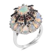 Ethiopian Welo Opal, Mozambique Garnet, Thai Black Spinel Platinum Over Sterling Silver Ring (Size 7.0) TGW 6.07 cts.