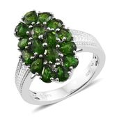 Russian Diopside Platinum Over Sterling Silver Cluster Ring (Size 7.0) TGW 2.43 cts.