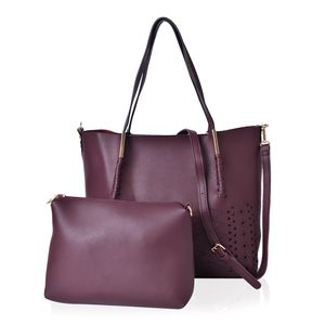 Burgundy Laser Cut Pattern Faux Leather Set of 2 Handbag (15.20x13.1x1.6 in)