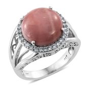 Australian Pink Opal, Cambodian Zircon Platinum Over Sterling Silver Ring (Size 5.0) TGW 6.60 cts.