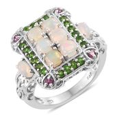 Ethiopian Welo Opal, Orissa Rhodolite Garnet, Russian Diopside Platinum Over Sterling Silver Openwork Ring (Size 5.0) TGW 2.44 cts.