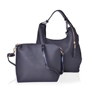 Black Faux Leather Spacious Tote (18x5.5x10 in) with Matching Crossbody Bag (12x3x10 in)