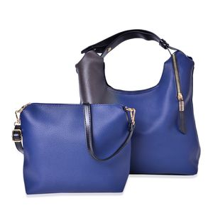 Blue Ombre Faux Leather Spacious Tote (18x5.5x10 in) with Matching Crossbody Bag (12x3x10 in)