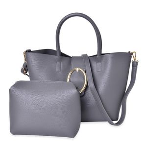 Grey Faux Leather Tote (15.4x11x9.2 in) and Pouch Bag (6x7.4x6.6 in)