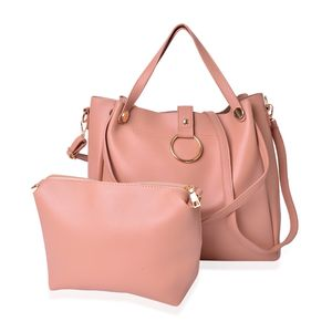 Apricot Faux Leather Tote with Standing Studs (17x4.5x12 in) and Matching Crossbody Bag (8x7.5 in)
