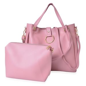 Dusty Pink Faux Leather Tote with Standing Studs (17x4.5x12 in) and Matching Crossbody Bag (8x7.5 in)