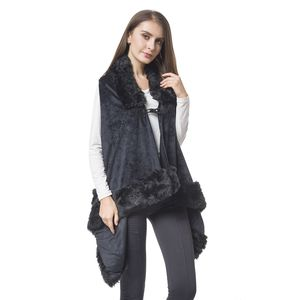 Black 100% Polyester Vest with Faux Fur Collor & Bottom (One Size)