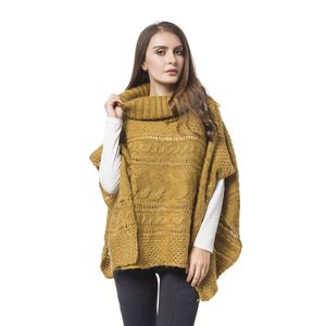 Camel 100% Acrylic Knitted Turtleneck Poncho (One Size)