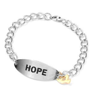 ION Plated YG and Stainless Steel Bracelet with Pigeon Charm (6.50 In)