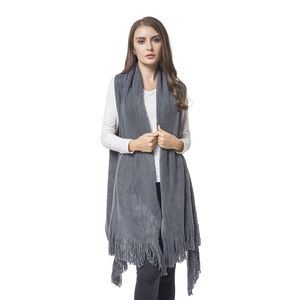 Gray 100% Acrylic Knitted Drape Vest with Fringes