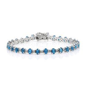 Malgache Neon Apatite, White Topaz Platinum Over Sterling Silver Line Bracelet (7.50 In) TGW 8.70 cts.