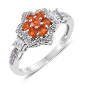 Salamanca Fire Opal, White Topaz Platinum Over Sterling Silver Ring (Size 10.0) TGW 0.86 cts.