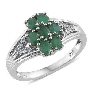Kagem Zambian Emerald, Cambodian Zircon Platinum Over Sterling Silver Split Ring (Size 5.0) TGW 1.16 cts.
