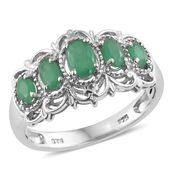 Kagem Zambian Emerald Platinum Over Sterling Silver Ring (Size 7.0) TGW 1.22 cts.