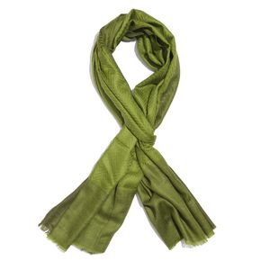 Green 100% Cashmere Wool Chevron Pattern Scarf (80x28 in)
