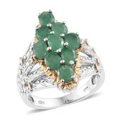 Kagem Zambian Emerald 14K YG and Platinum Over Sterling Silver Ring (Size 5.0) TGW 2.78 cts.